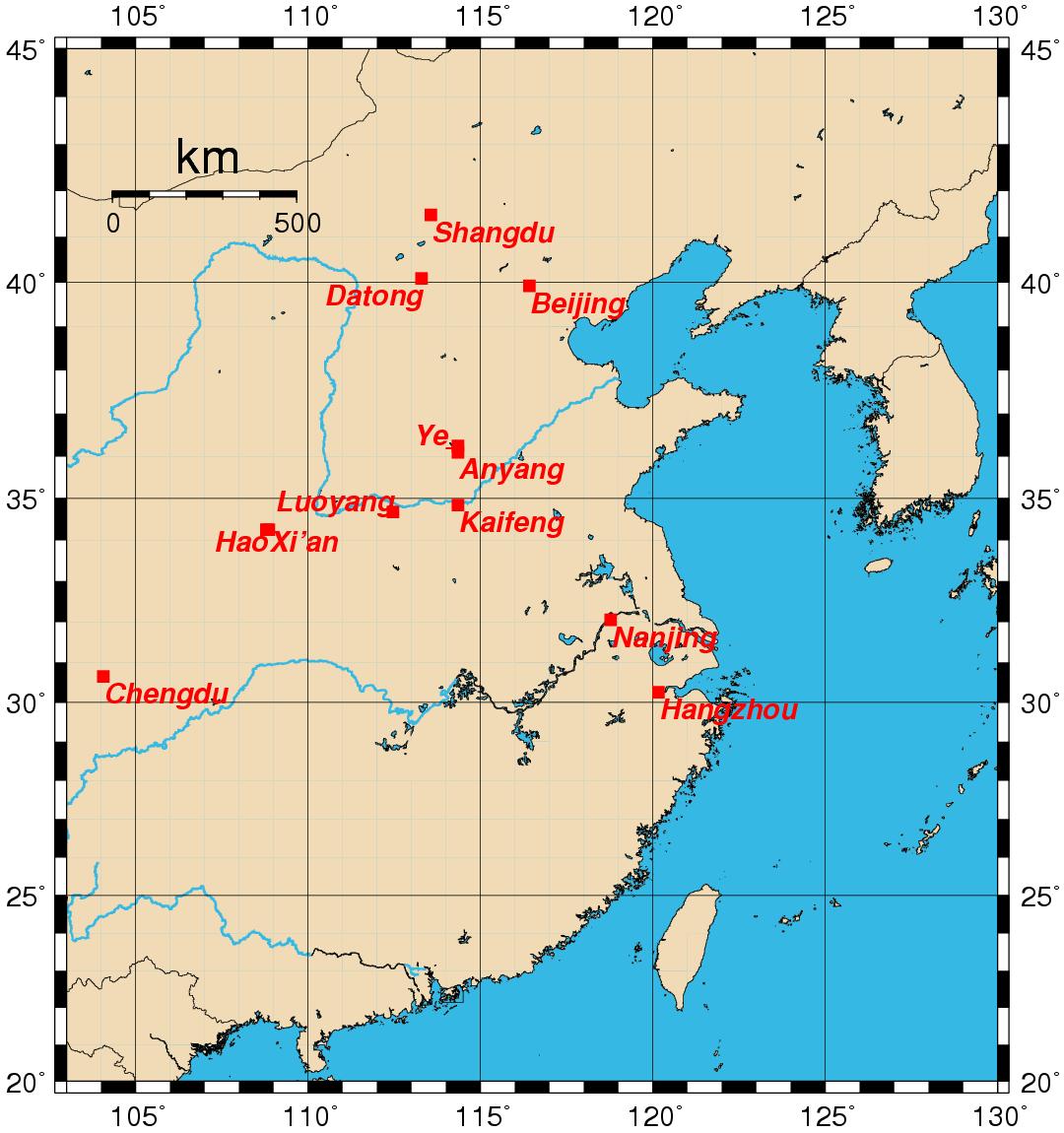 Ubicación de la antigua China
