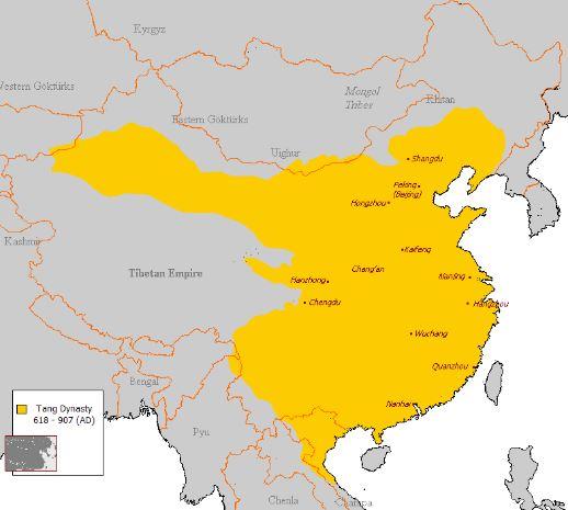 Mapa de China Dinastia Tang